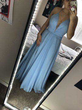 Faviana Blue Size 2 Backless Corset Side slit Dress on Queenly