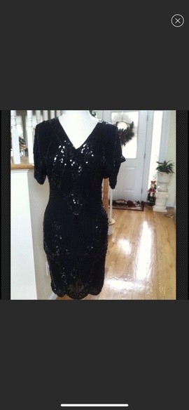 Oleg Cassini Black Size 6 Jewelled Cocktail Dress on Queenly