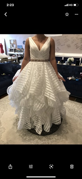Mori Lee White Size 6 Wedding Belt Train Lace Ball gown on Queenly