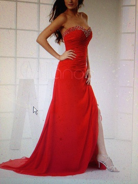 Queenly size 6  Red Side slit evening gown/formal dress