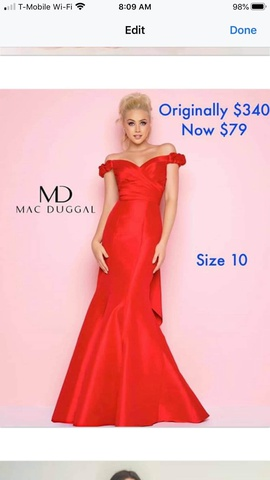 Queenly size 10 Mac Duggal Red Mermaid evening gown/formal dress