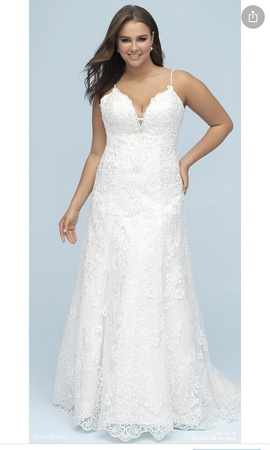 Queenly size 20 Allure White A-line evening gown/formal dress