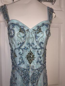 Sherri Hill Blue Size 10 Mermaid Dress on Queenly