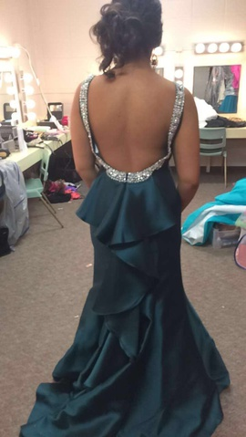Style 46083 Tiffany Designs Green Size 12 Backless Tall Height Fitted Mermaid Dress on Queenly
