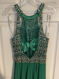Blush Green Size 10 Jewelled Halter Backless A-line Dress on Queenly
