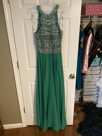 Queenly size 10 Blush Green A-line evening gown/formal dress