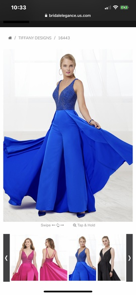 Queenly size 2  Blue Romper/Jumpsuit evening gown/formal dress