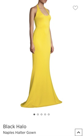 Black Halo- Naples Halter Gown Yellow Size 16 Jersey Plus Size Straight Dress on Queenly