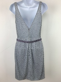 Vienna Silver Size 2 Mini Plunge Cocktail Dress on Queenly