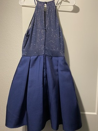 Teeze Me Blue Size 10 Flare Halter A-line Dress on Queenly