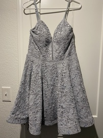 Queenly size 12 Speechless Silver A-line evening gown/formal dress