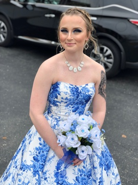 Sherri Hill Blue Size 2 Prom Floral Ball gown on Queenly