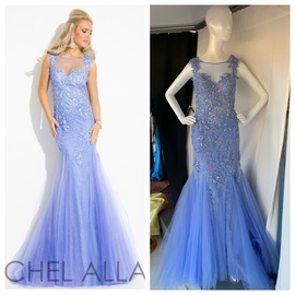 Rachel Allan Blue Size 8 Sheer Lace Fitted Mermaid Dress on Queenly
