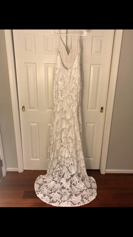 Erin Clare White Size 12 Side Slit Train Sequin A-line Dress on Queenly