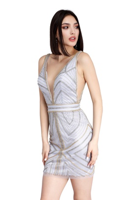 Style 60012 Vienna Black Size 10 White Plunge Backless Cocktail Dress on Queenly