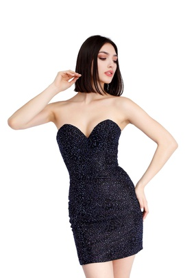 Style 60013 Vienna Black Size 8 Strapless Mini Cocktail Dress on Queenly