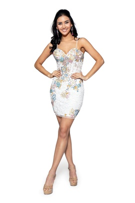 Style 60014 Vienna White Size 12 Mini Tall Height Cocktail Dress on Queenly