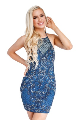 Style 60019 Vienna Blue Size 4 Mini Tall Height Cocktail Dress on Queenly