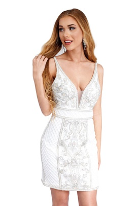 Style 60026 Vienna White Size 6 Mini Plunge Cocktail Dress on Queenly