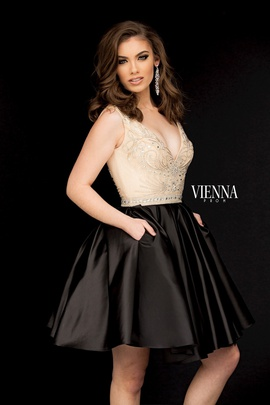 Style 6019 Vienna Black Size 14 Tall Height Cocktail Dress on Queenly