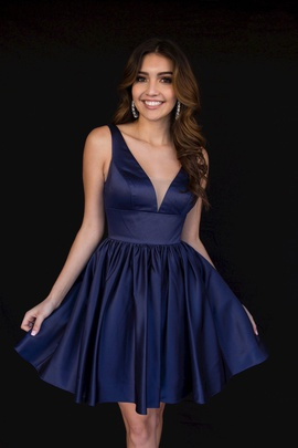 Style 6023 Vienna Blue Size 4 Tall Height Cocktail Dress on Queenly
