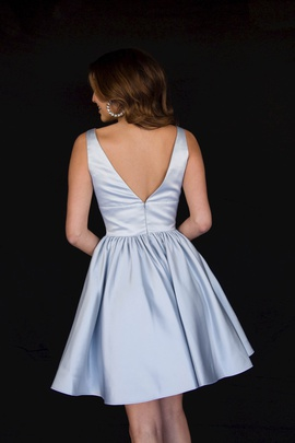 Style 6023 Vienna Silver Size 12 Backless Tall Height Cocktail Dress on Queenly