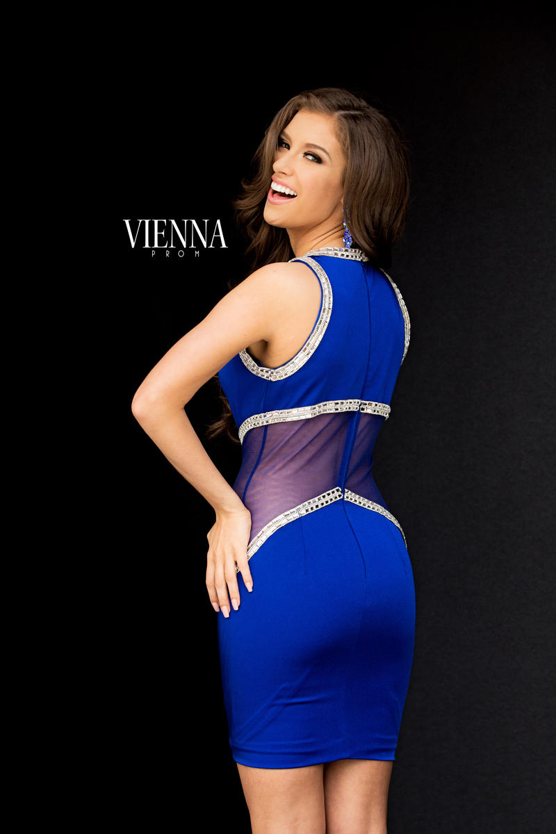 Style 6029 Vienna Blue Size 4 Tall Height Fitted Cocktail Dress on Queenly