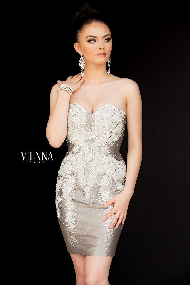 Queenly size 2 Vienna Silver Cocktail evening gown/formal dress