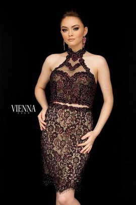 Style 6032 Vienna Black Size 6 Mini Two Piece Lace Cocktail Dress on Queenly