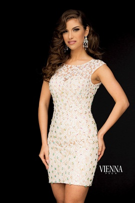 Style 6036 Vienna White Size 6 Tall Height Sheer Cocktail Dress on Queenly