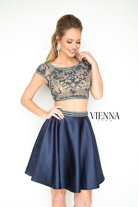 Style 6050 Vienna Blue Size 8 Tall Height Sheer Cocktail Dress on Queenly