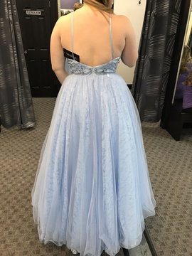 Sherri Hill Blue Size 12 Halter Backless Ball gown on Queenly