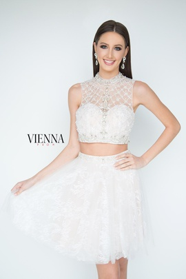 Style 6051 Vienna White Size 6 Halter Sheer Two Piece Cocktail Dress on Queenly