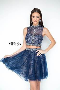 Style 6051 Vienna Blue Size 8 Tall Height Sheer Cocktail Dress on Queenly