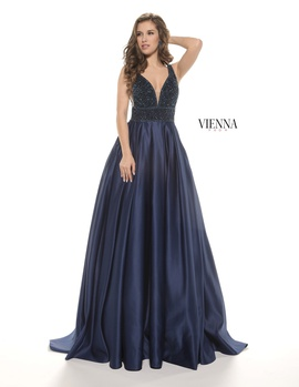 Style 7802 Vienna Blue Size 2 Plunge Navy Ball gown on Queenly