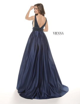 Style 7802 Vienna Blue Size 12 Plunge Plus Size Navy Ball gown on Queenly