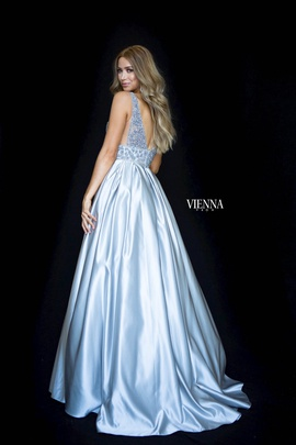 Style 7802 Vienna Silver Size 0 Plunge Sequin Ball gown on Queenly