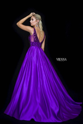 Style 7802 Vienna Purple Size 2 Plunge Ball gown on Queenly
