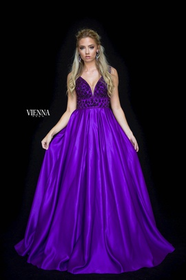 Style 7802 Vienna Purple Size 16 Plunge Backless Ball gown on Queenly