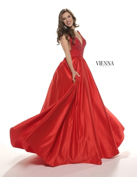 Style 7802 Vienna Red Size 4 Backless Tall Height Ball gown on Queenly