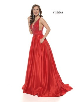 Style 7802 Vienna Red Size 12 Pageant Backless Tall Height Ball gown on Queenly