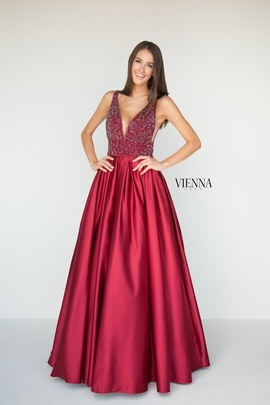 Style 7802 Vienna Red Size 2 Plunge Ball gown on Queenly