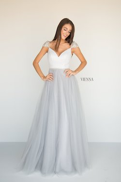 Style 7806 Vienna Silver Size 4 Tulle Tall Height Ball gown on Queenly