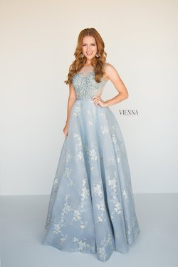 Style 7807 Vienna Blue Size 6 Sheer Lace Ball gown on Queenly