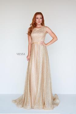 Style 7808 Vienna Gold Size 8 Train Shiny A-line Dress on Queenly