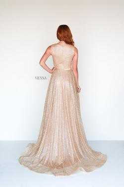 Style 7808 Vienna Gold Size 16 Shiny A-line Dress on Queenly