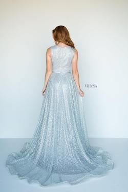 Style 7808 Vienna Silver Size 8 Train Tall Height A-line Dress on Queenly