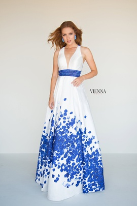 Style 7811 Vienna Blue Size 12 Backless Tall Height A-line Dress on Queenly