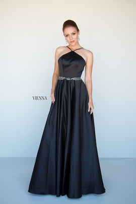 Style 7812 Vienna Black Size 6 Halter Backless Tall Height A-line Dress on Queenly