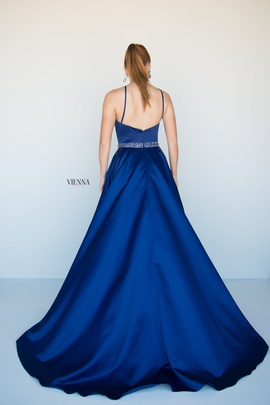 Style 7812 Vienna Blue Size 12 Halter Backless Tall Height A-line Dress on Queenly